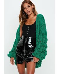 Missguided - Green Premium Hand Knit Bobble Sleeve Chunky Cardigan - Lyst
