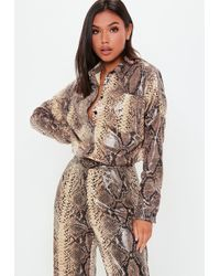 Missguided - Brown Faux Leather Snake Skin Shirt - Lyst