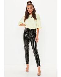 Missguided - Black Vinyl Trousers - Lyst