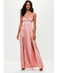 3e0ee3ba82 Missguided - Pink Plunge Double Split Front Satin Maxi Dress - Lyst