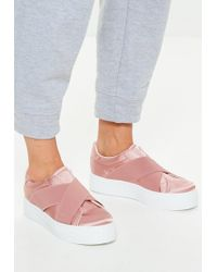 Missguided - Pink Cross Strap Elastic Flatform Trainers - Lyst