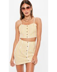 Missguided - Mustard Yellow Button Front Stripe Co Ord Top - Lyst