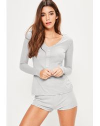 Missguided | Gray Ribbed Top & Shorts Pajamas Set | Lyst
