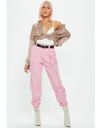 Missguided - Pink Chain Detail Cargo Trousers - Lyst