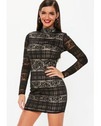 afeac17aab Lyst - Missguided Black Star Long Sleeve Open Back Skater Dress in Black