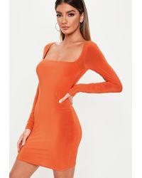 d8da4e6926 Lyst - Missguided Nikola Halterneck Shift Dress In Neon Orange in Orange