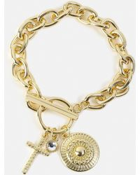 Missguided - Gold Look Chunky Charm Wristwear - Lyst