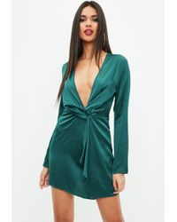 Missguided - Green Silky Plunge Wrap Shift Dress - Lyst