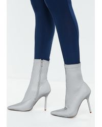 Missguided - Gray Reflective Pointed Toe Sock Boots - Lyst