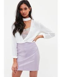 Missguided - Lilac Faux Leather Mini Skirt - Lyst
