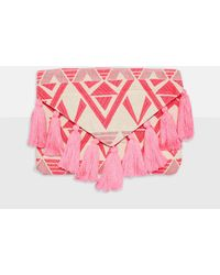 Missguided - Pink Aztec Tassel Clutch Bag - Lyst