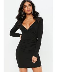 Missguided - Black Crepe Ruched Side Asymmetric Bodycon Dress - Lyst