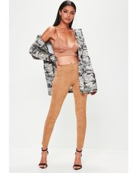 Missguided - Tan Faux Suede Skinny Trousers - Lyst