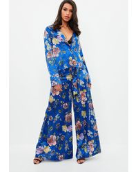 Missguided - Blue Printed Wide Leg Trousers - Lyst