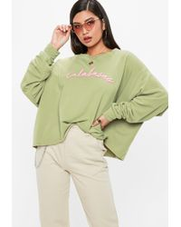 Missguided - Khaki Calabasas Cropped Sweatshirt - Lyst