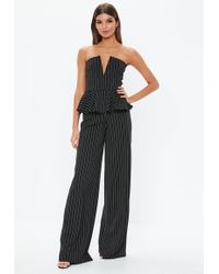 ed86df377c09 Missguided White V Bar Off Shoulder Jumpsuit in White - Lyst
