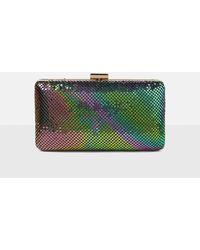 Missguided - Green Iridescent Chainmail Clutch Bag - Lyst