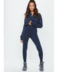 Missguided - Navy Full Length Leggings - Lyst