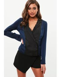 Missguided - Navy Blue Satin Pyjama Wrap Blouse - Lyst