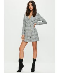 Missguided - Grey Checked Button Front Blazer Dress - Lyst