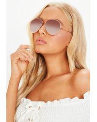 Missguided - Rose Gold Framed Aviator Sunglasses - Lyst