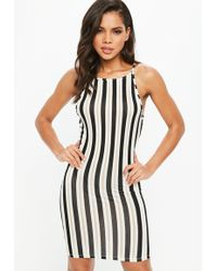 Missguided - Black Striped 90s Neck Bodycon Dress - Lyst