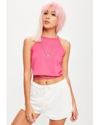 Missguided - Tall Pink Wrap Around Cropped Top - Lyst