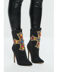 Missguided - Black Cross Embellished Stretch Ankle Boots - Lyst
