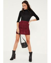Missguided Naomi Faux Leather Zip A-Line Skirt Burgundy in Purple ...