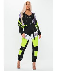 Missguided - Playboy X Black Shell Suit Motorcross Cropped Jacket - Lyst