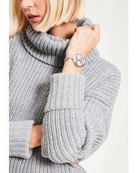 Missguided - Silver Skinny Bracelet Watch - Lyst