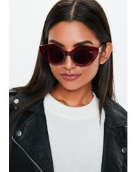 Missguided - Quay Australia Good Night Kiss Burgundy Sunglasses - Lyst