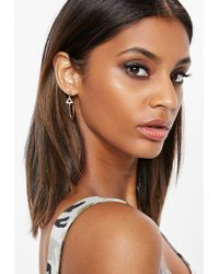 Missguided - Gold Diamante Triangle Hoop Earrings - Lyst