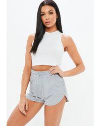 Missguided | Petite Grey Tie Waist Running Shorts | Lyst
