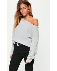 Missguided - Gray Off Shoulder Knitted Sweater - Lyst