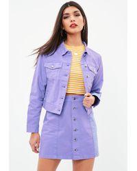 Missguided - Lilac A Line Button Through Denim Mini Skirt - Lyst