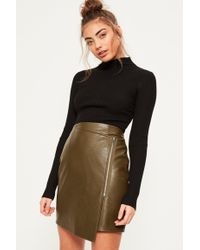 Missguided Zip Pocket Bonded Faux Suede Mini Skirt Khaki in ...