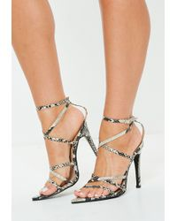 b30581ee30e7 Missguided - Grey Snake Print Pointed Toe Heeled Sandals - Lyst