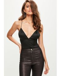 Missguided - Black Basic Satin Bodysuit - Lyst