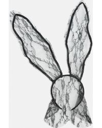 Missguided - Black Halloween Long Lace Bunny Ears - Lyst