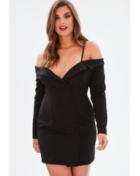 Missguided - Curve Black Open Shoulder Tuxedo Dress - Lyst