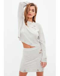 Missguided - Grey Ribbed Distressed Mini Skirt - Lyst