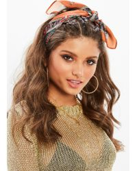 Missguided - Brown Paisley Printed Scarf - Lyst