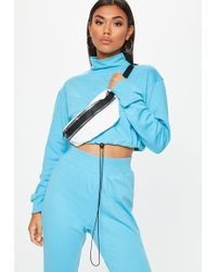 Missguided - Blue High Neck Drawstring Cropped Hoodie - Lyst