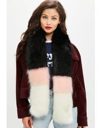 Missguided - Black Multi Faux Fur Scarf - Lyst