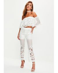 Missguided - White Lace Bardot Top Flare Trousers Set - Lyst