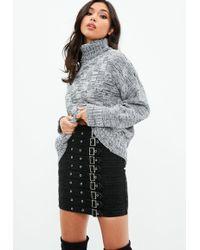 Missguided - Grey Multi Yarn Waffle Knit Jumper - Lyst