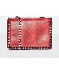 Missguided - Red Double Chain Croc Print Bag - Lyst