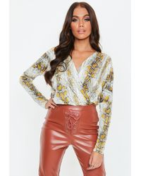 aaace3ebcae285 Missguided - Snake Print Wrap Blouse Bodysuit - Lyst