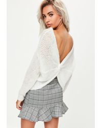Missguided - White Fluffy Yarn Twist Back Jumper - Lyst